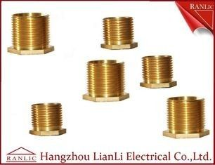 China Brass Male Bush Brass Electrical Wiring Accessories Long Hexagon Head GI Thread supplier